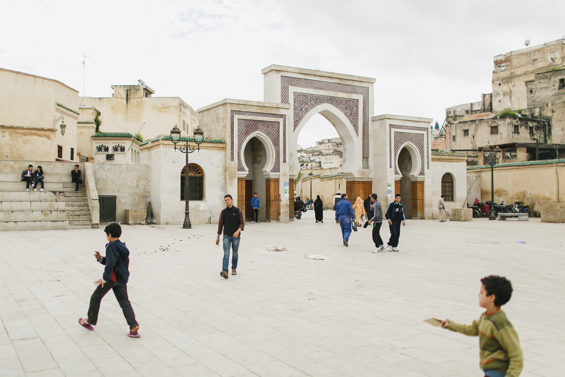 children in Fez playing in the Medina, photographed by Mark Trela Photography