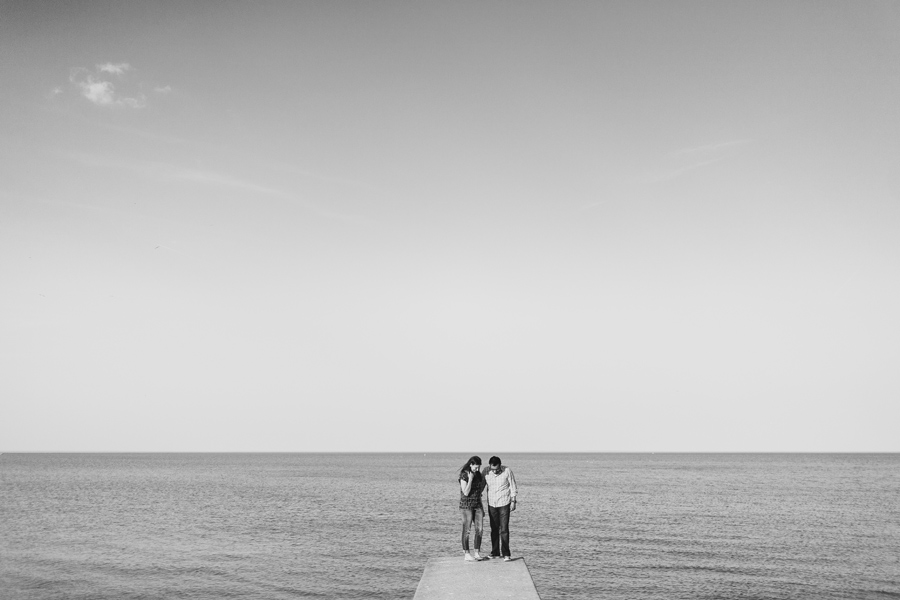 Photojournalistic Engagement Session by the lake in Chicago