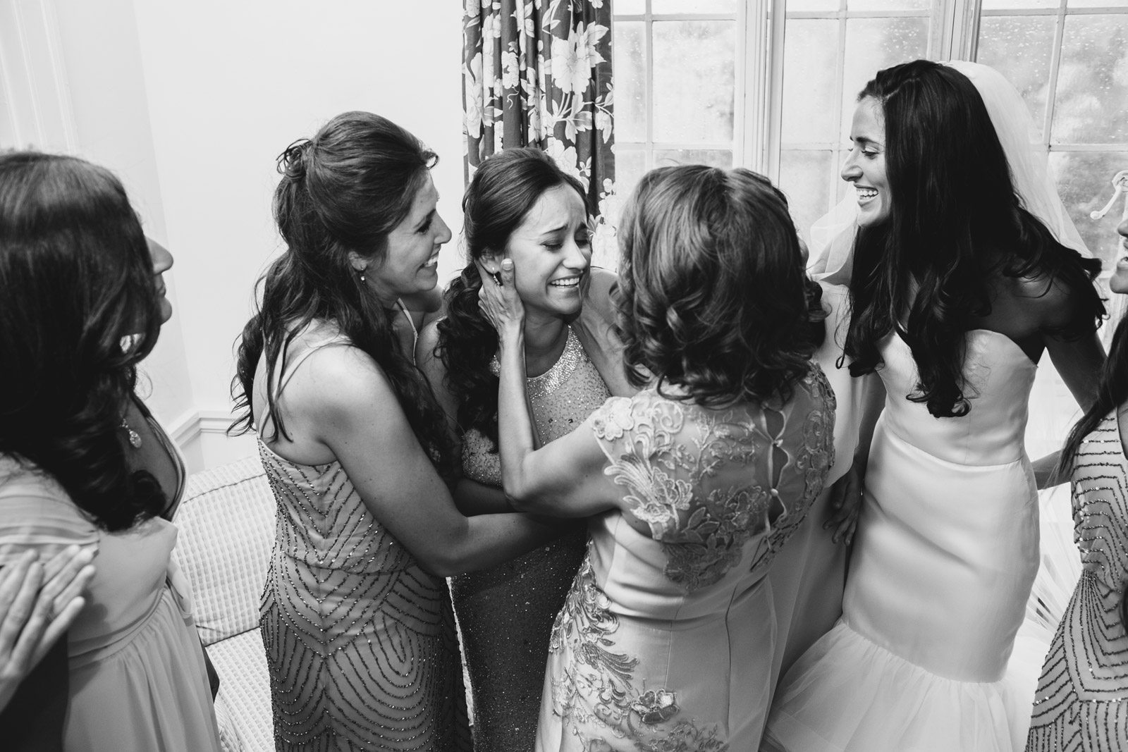 emotional moment between bride and her mother captured the wedding at Armour House