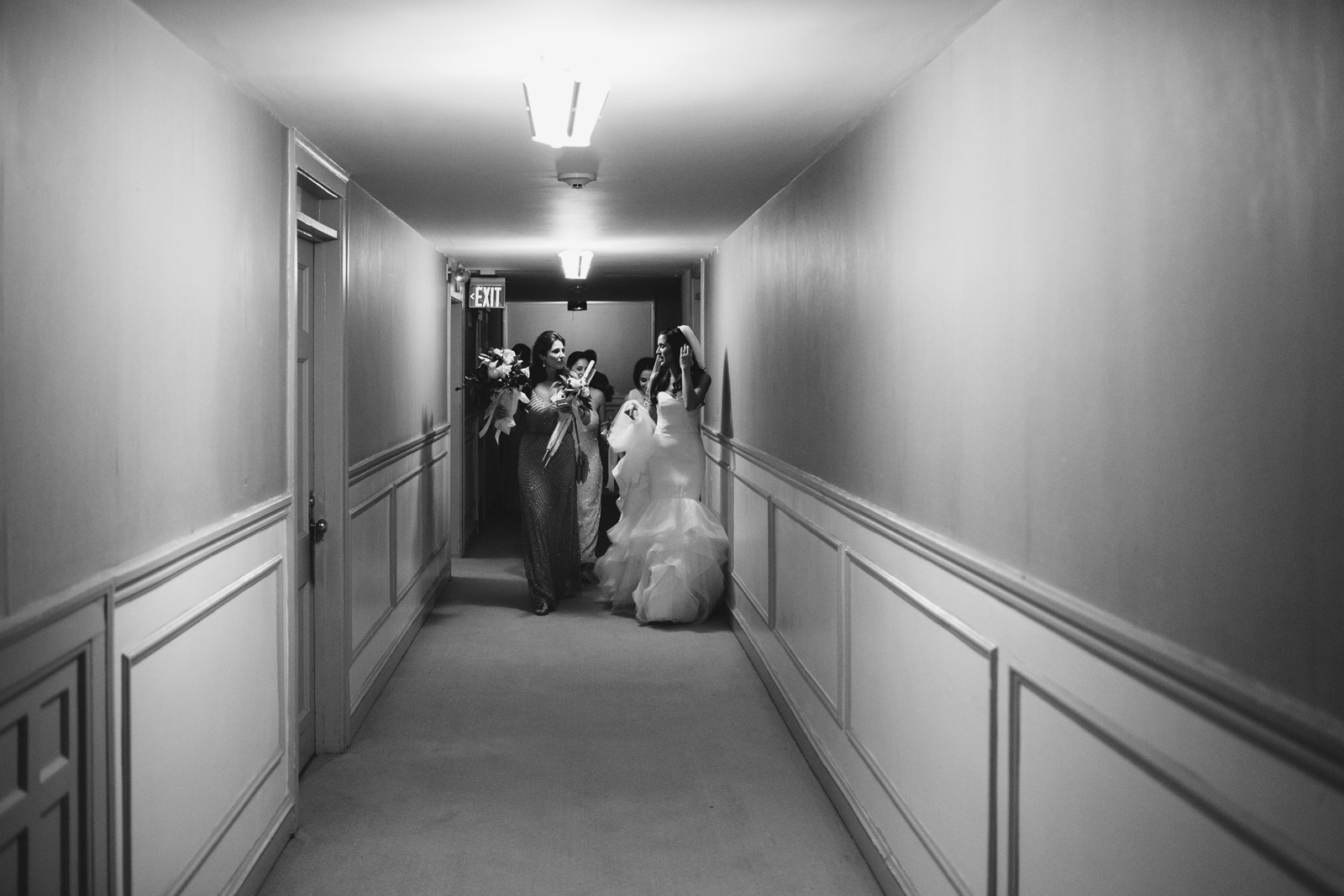 bride leaving the hotel for her wedding at Alice Millar Chapel in Evanston