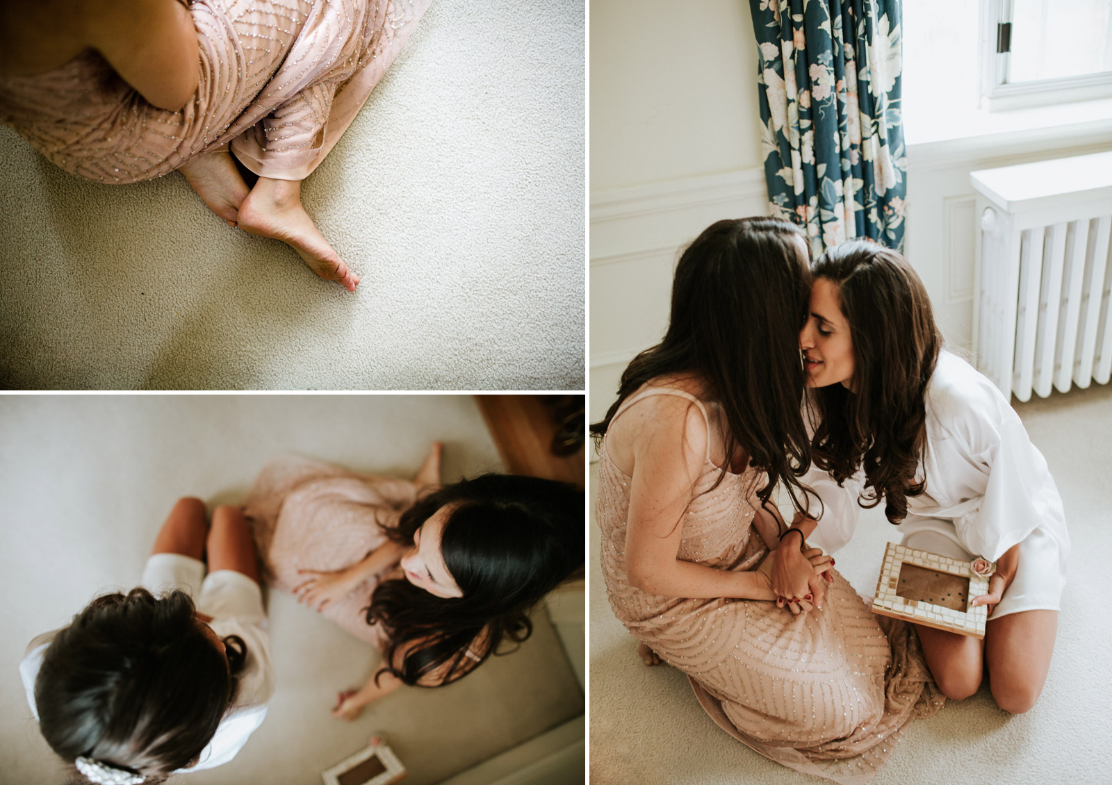 bride and bridesmaids getting ready in Chicago hotel