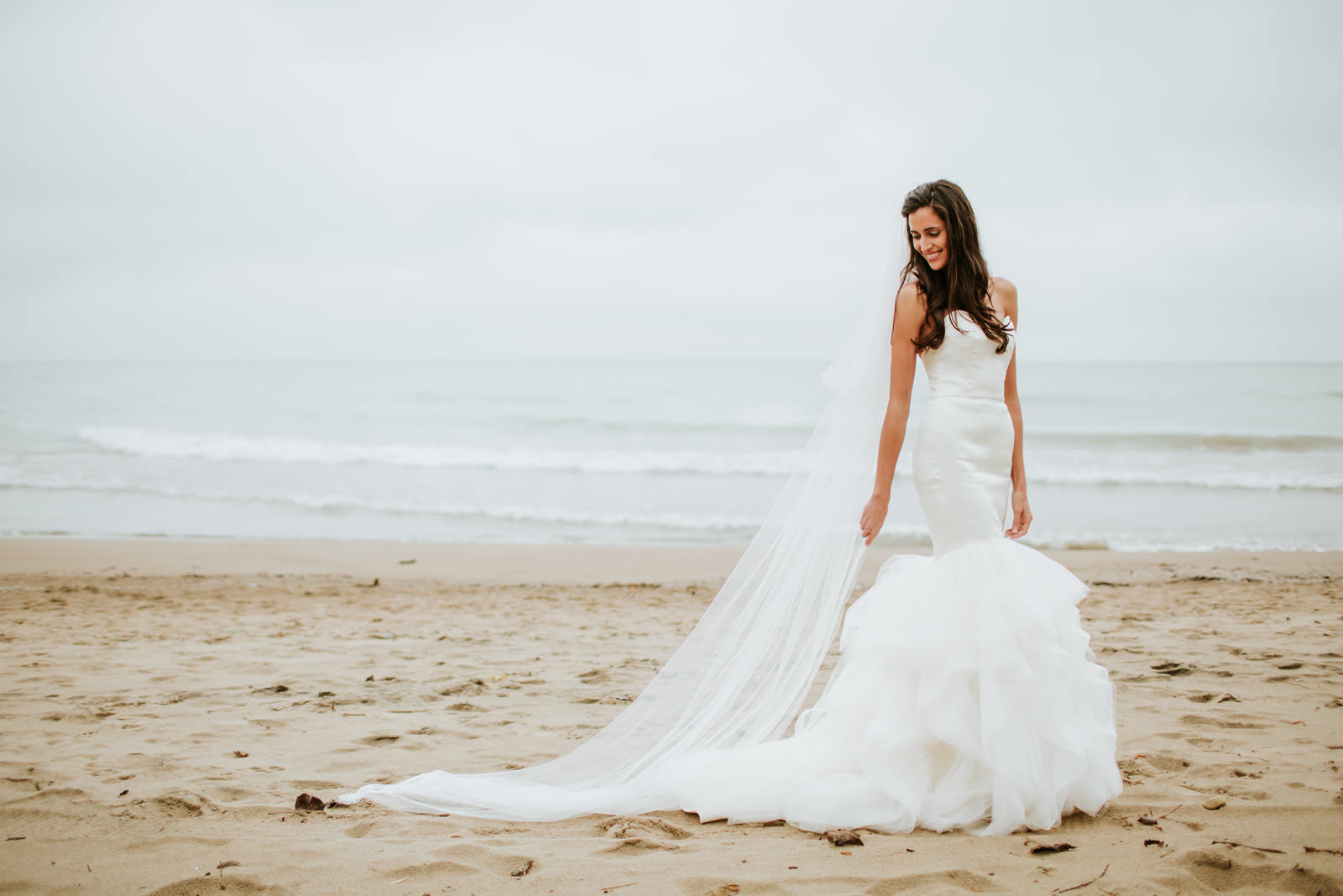 fine art bride portraits photographed in Chicago by lake Michigan