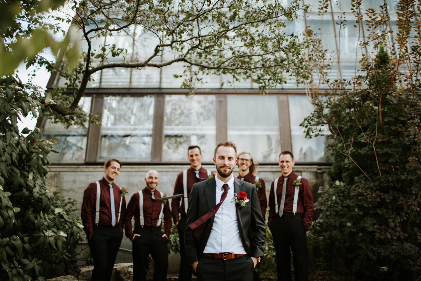 Groom and groomsmen portrait take during the wedding at Garfield Park Conservatory