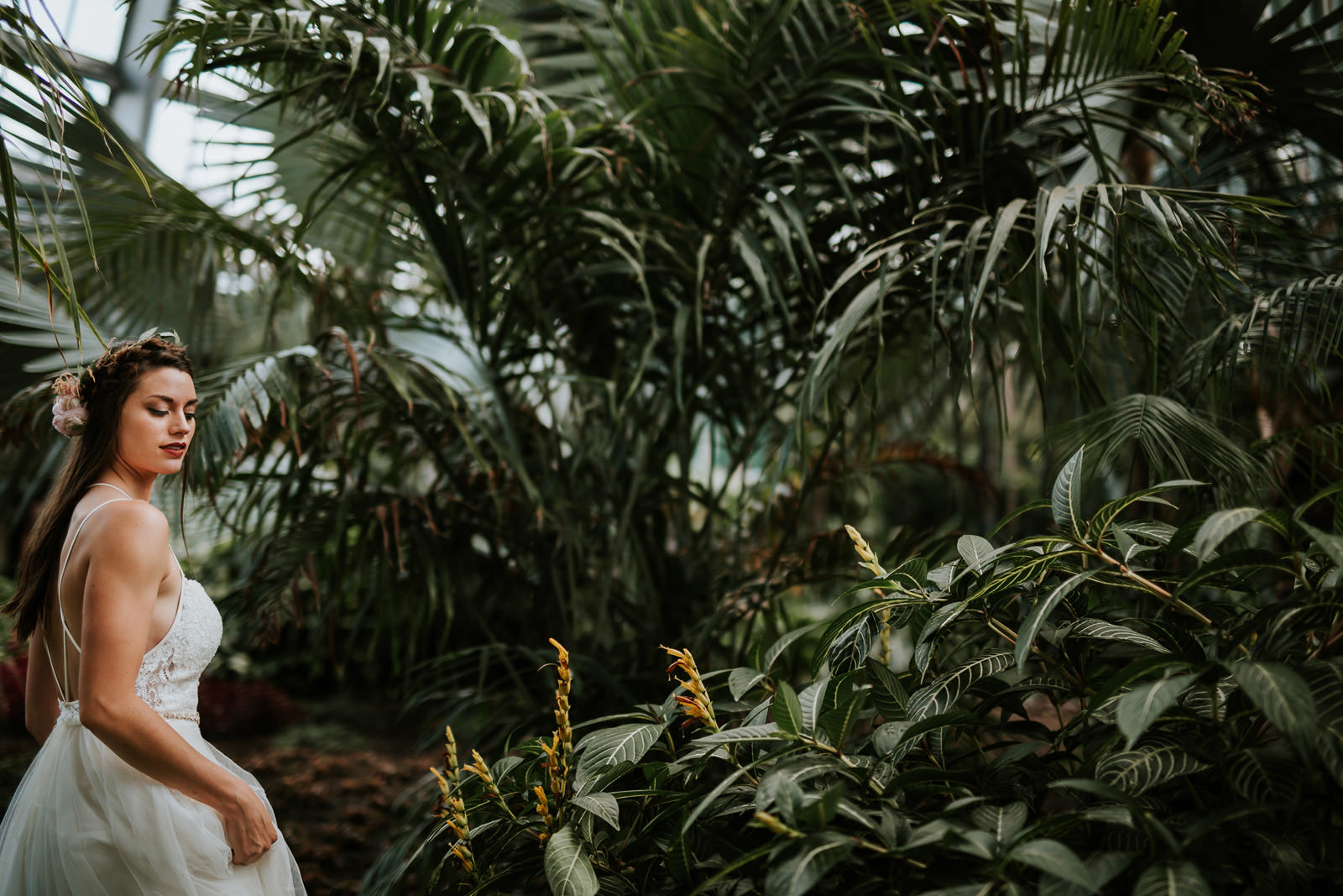 Garfield Park Conservatory Wedding Photography - artistic portrait of the bride