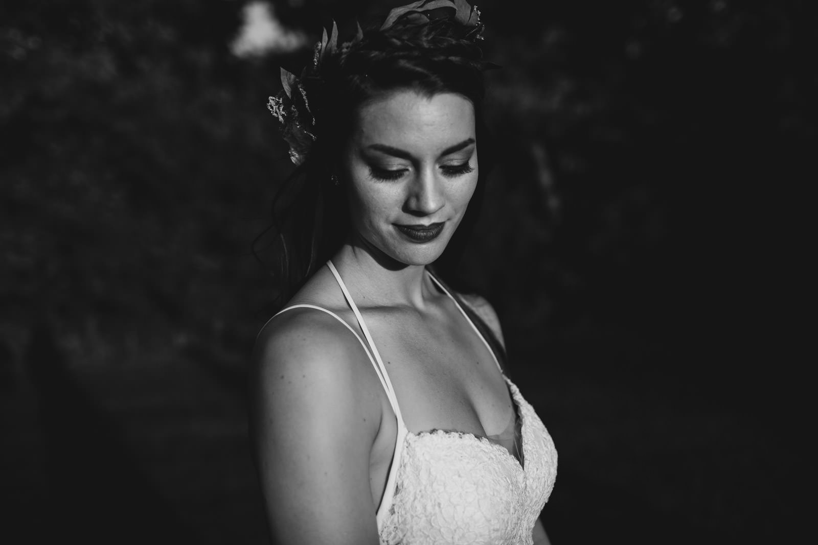 black and white fine art wedding bride portraits