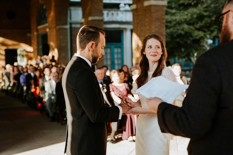 wedding ceremony photos at Columbus Park Refectory