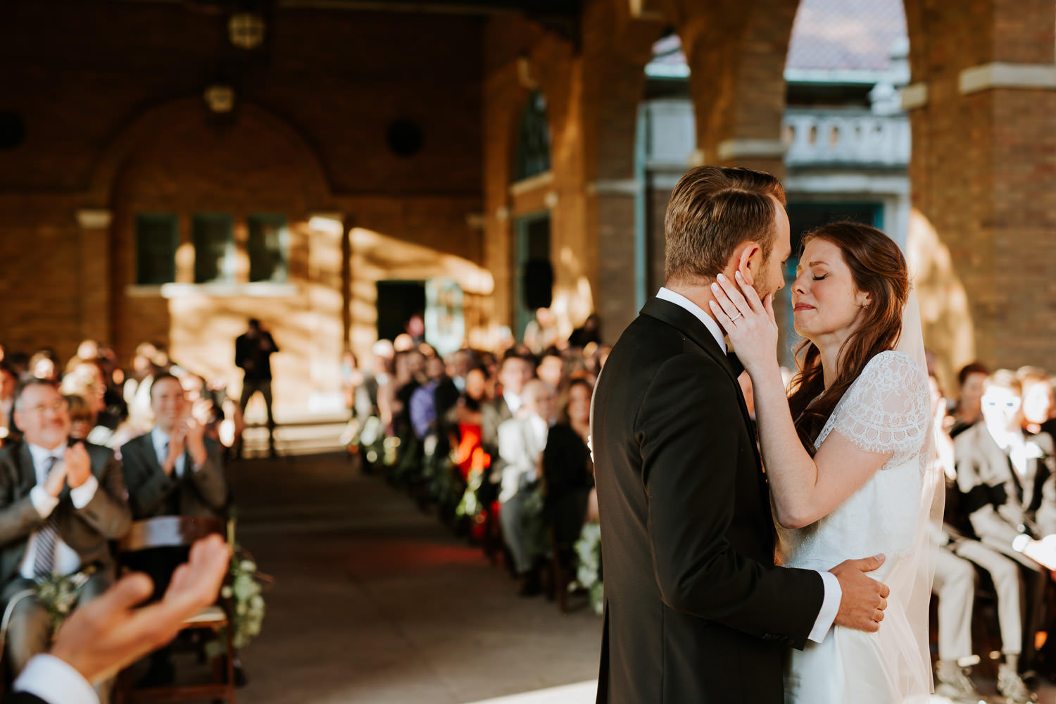 first kiss at Columbus Park Refectory