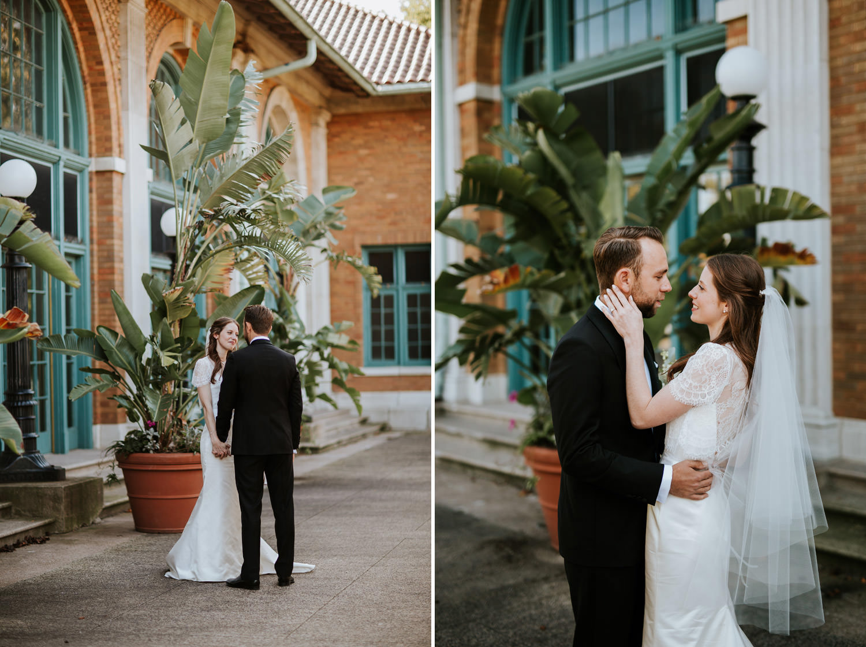 first look at Columbus Park wedding