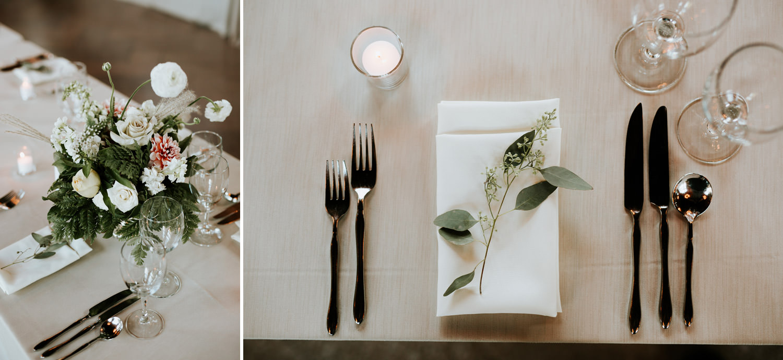 table setting at speeches at Columbus park wedding
