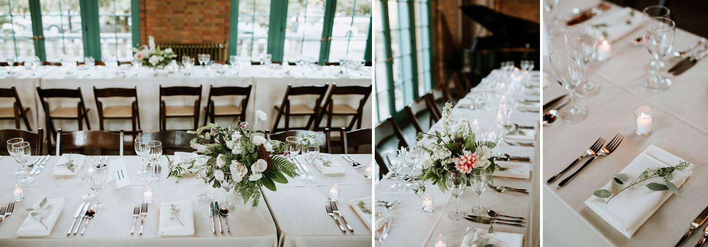 table set up speeches at Columbus park wedding