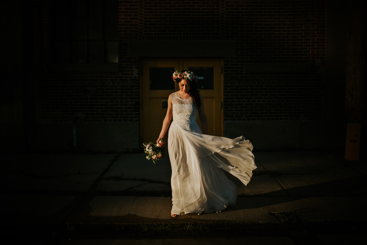 Fine art, natural light bride portrait taken in Gallery 1028