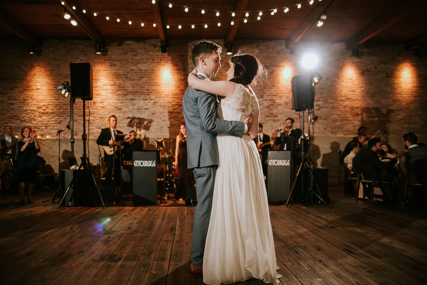 Bride and groom first dance at gallery 1028