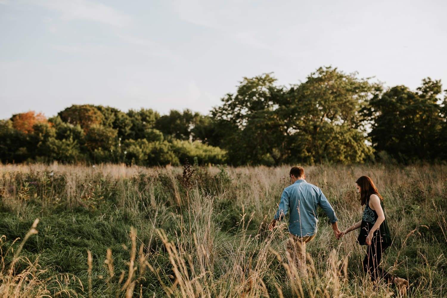 engagement session by montrose beach lake michigan