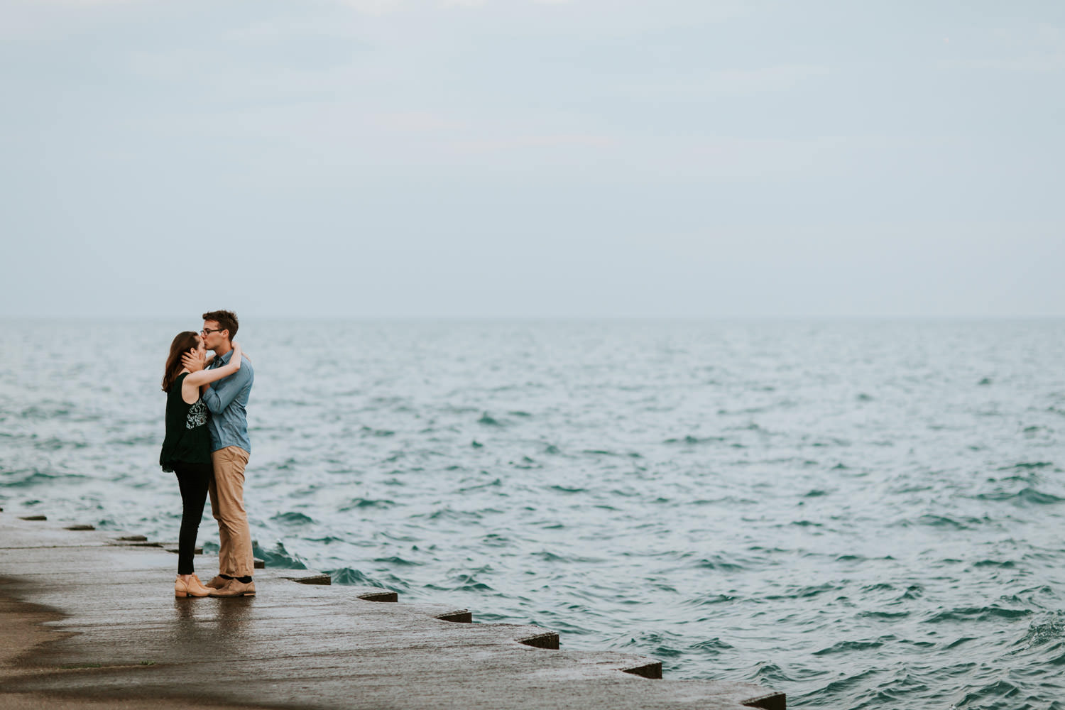 engagement session by montrose beach