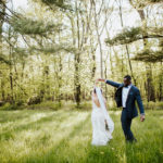 Fine art wedding portraits taken in forest preserve in Chicago