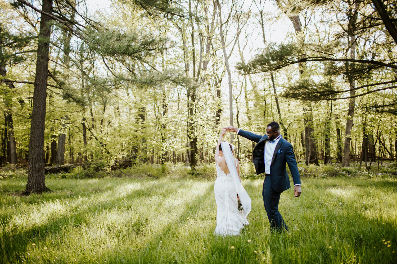 Fine art wedding portraits taken in forest preserve in Chicago
