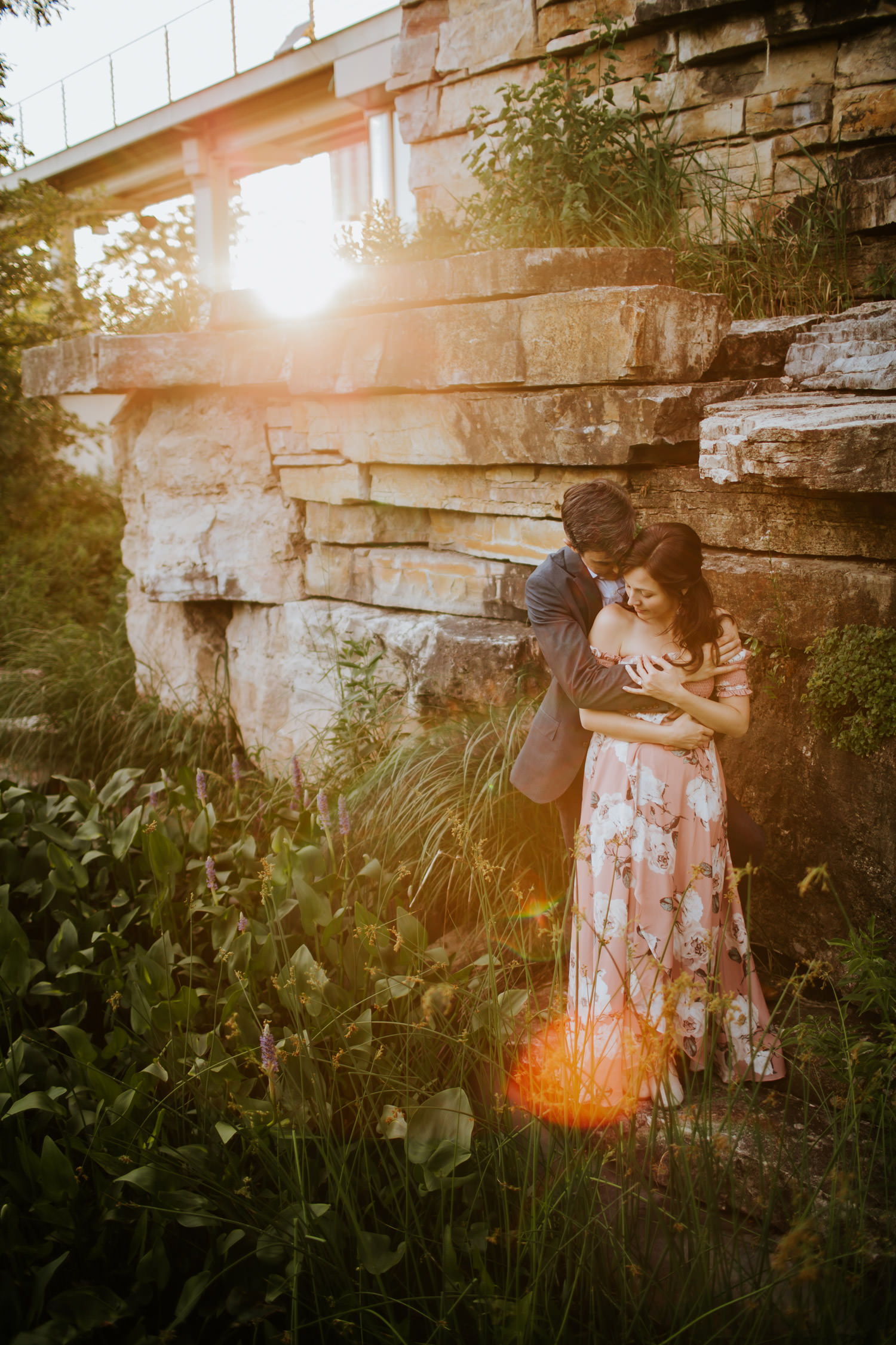 Golden hour engagement session photographed in Lincoln Park
