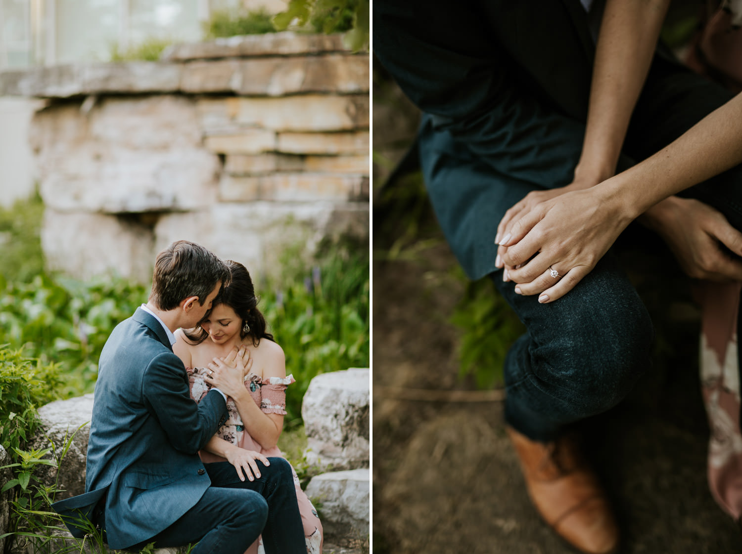 Intimate moment between future bride and groom captured during engagement session in Lincoln Park