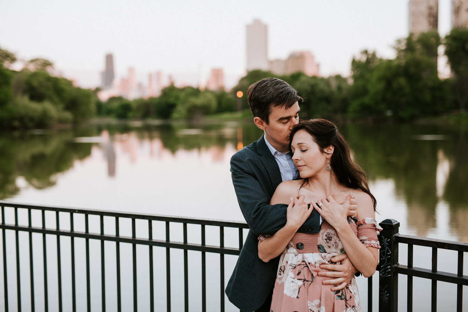 Portrait of the future bride and groom taken by North Pond in Lincoln Park during sunset.