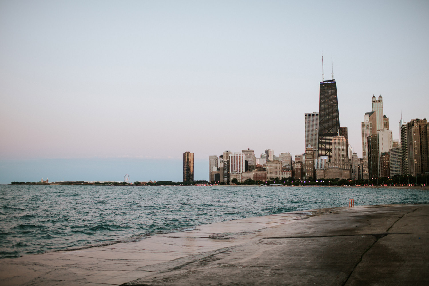 View from North Avenue beach in Chicago taken during sunset