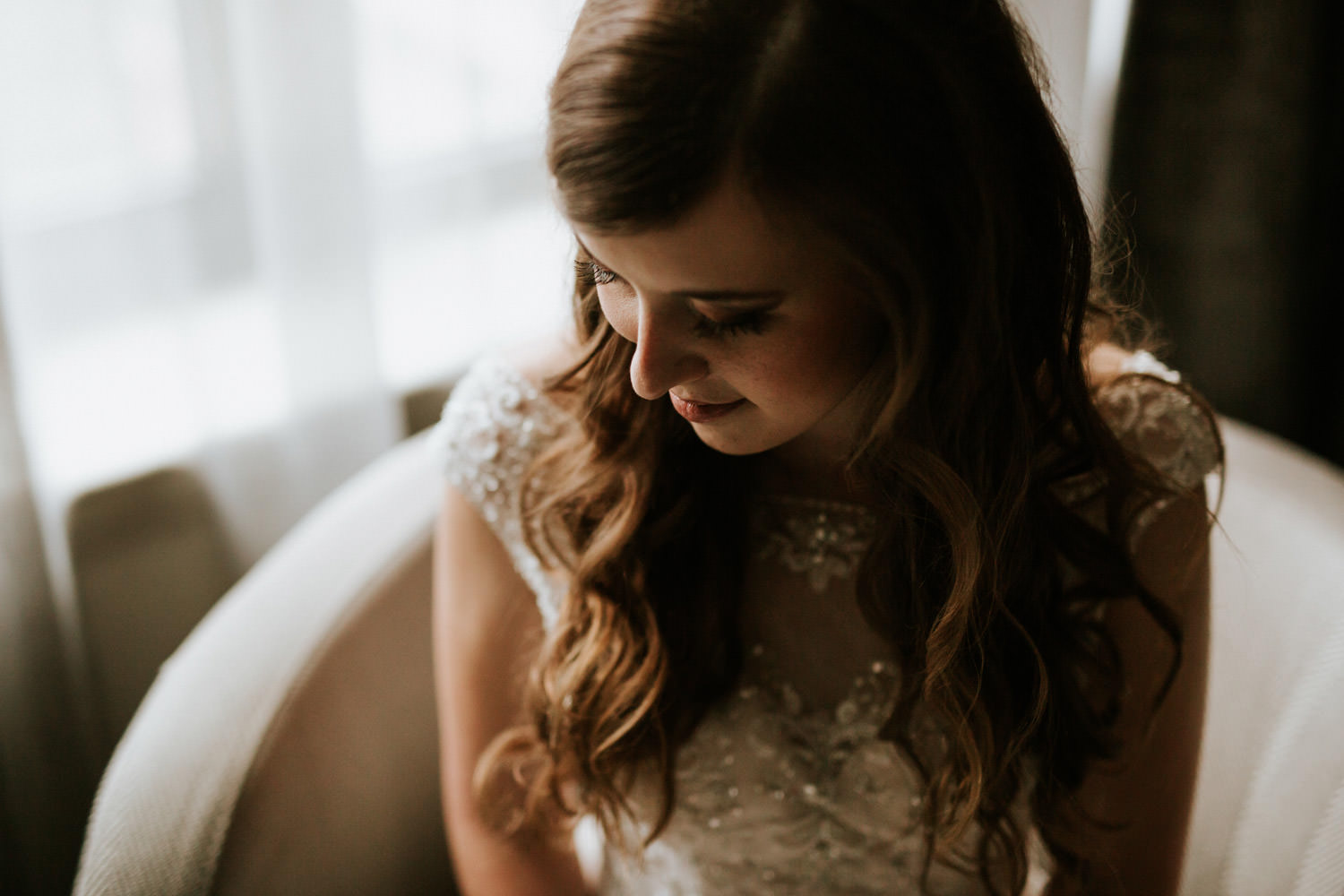 Intimate portrait of the bride photographed in downtown hotel in Chicago