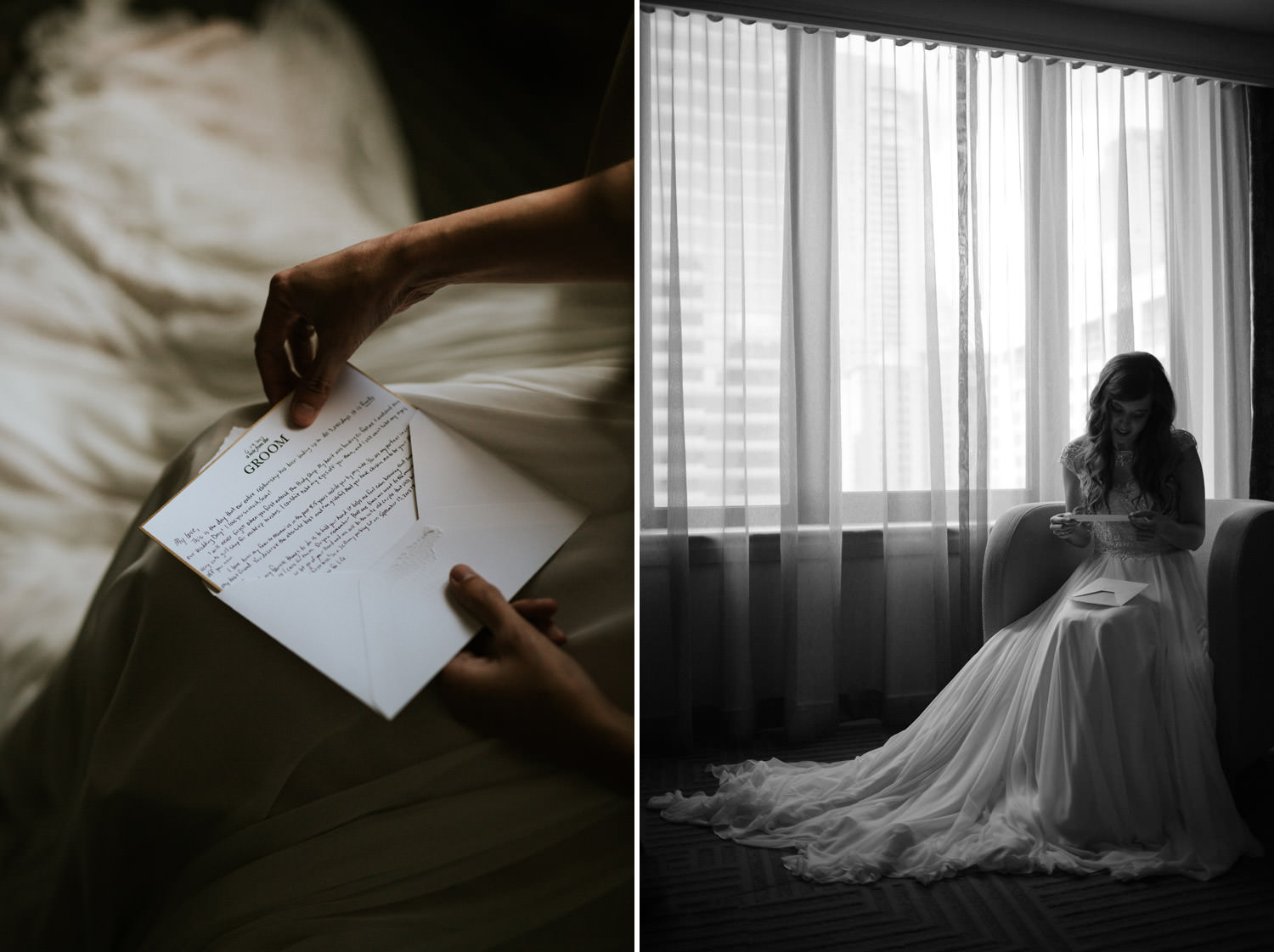 Fine art picture of the bride reading her letter from the groom