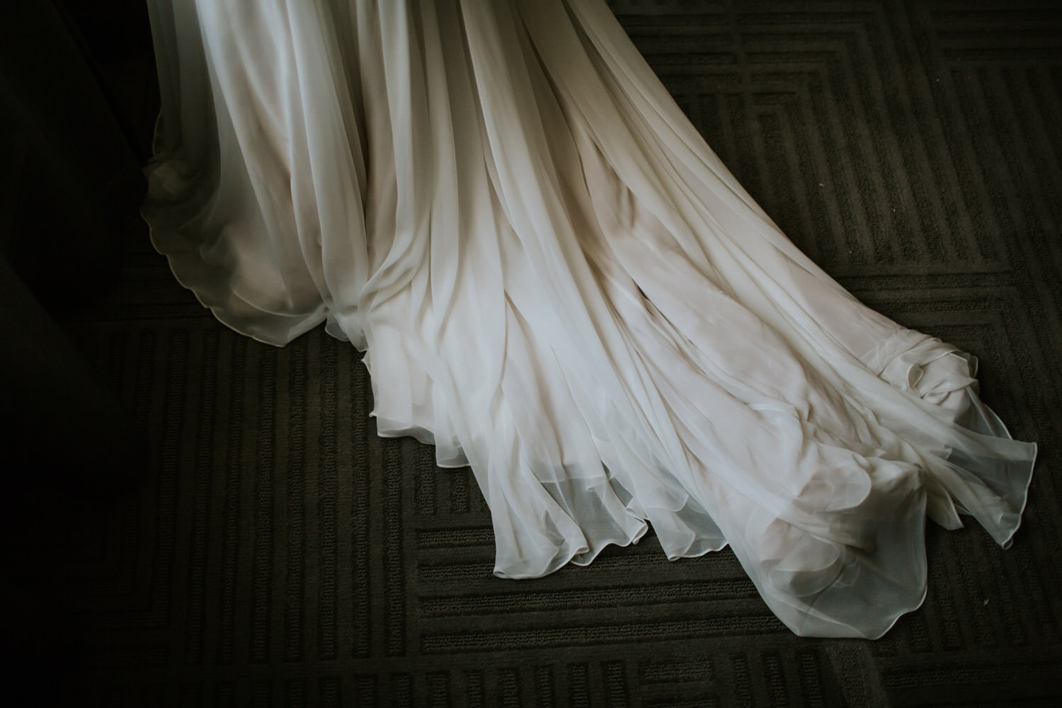 Bride leaving the hotel room in Chicago