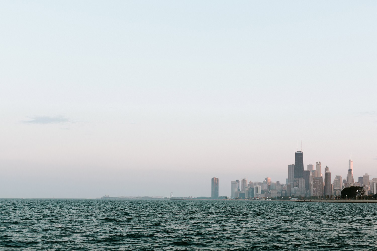 chicago skyline take from the belmont harbor