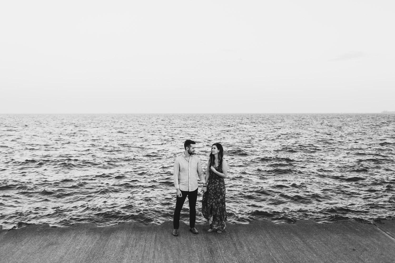 engagement photo taken by lake michigan