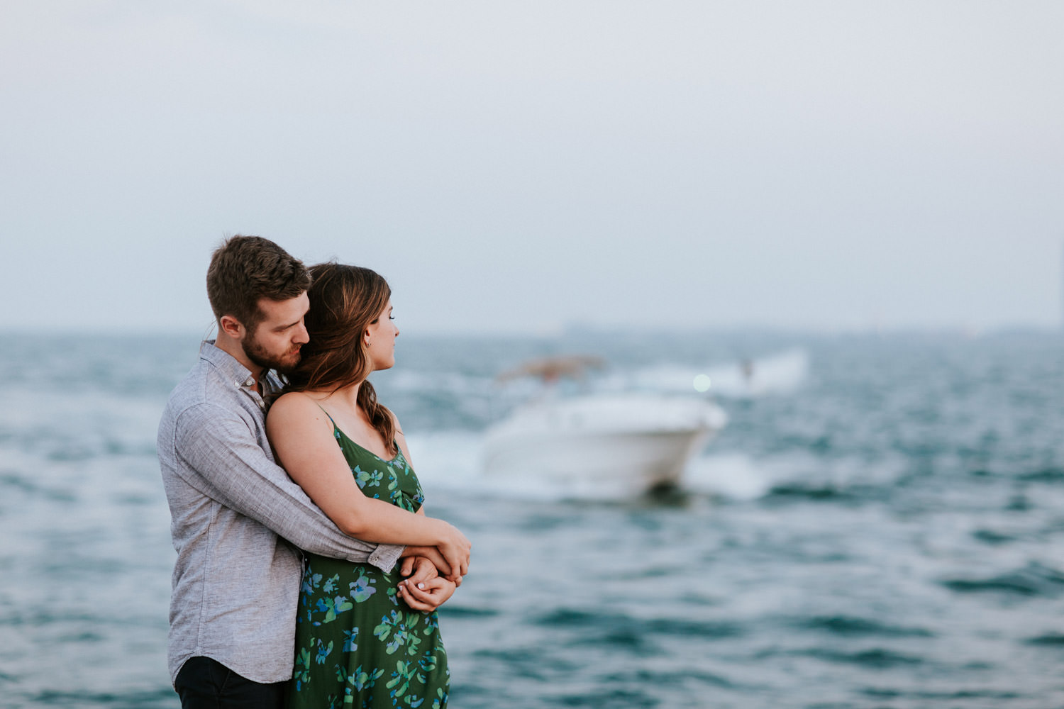 engagement photos take by the lake in lincoln park
