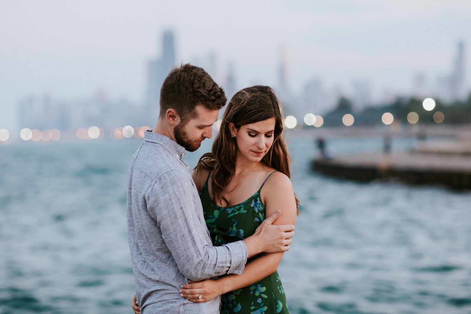 pre wedding portrait session by lake michigan