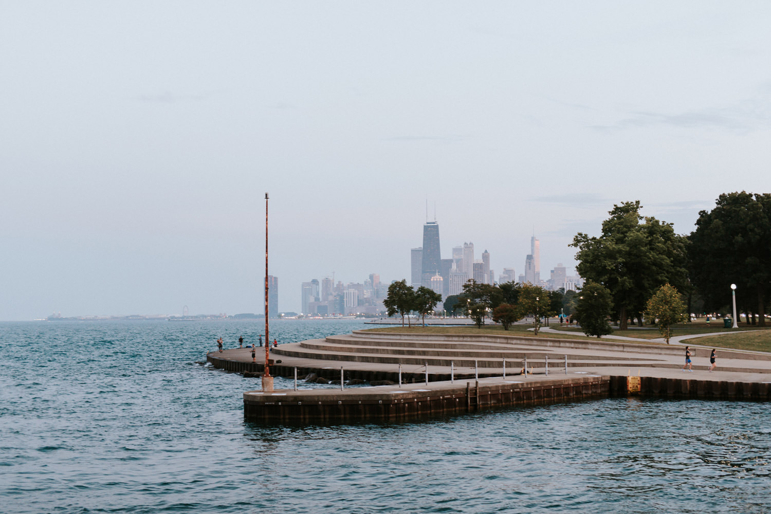 view of downtown chicago from Belmont pier