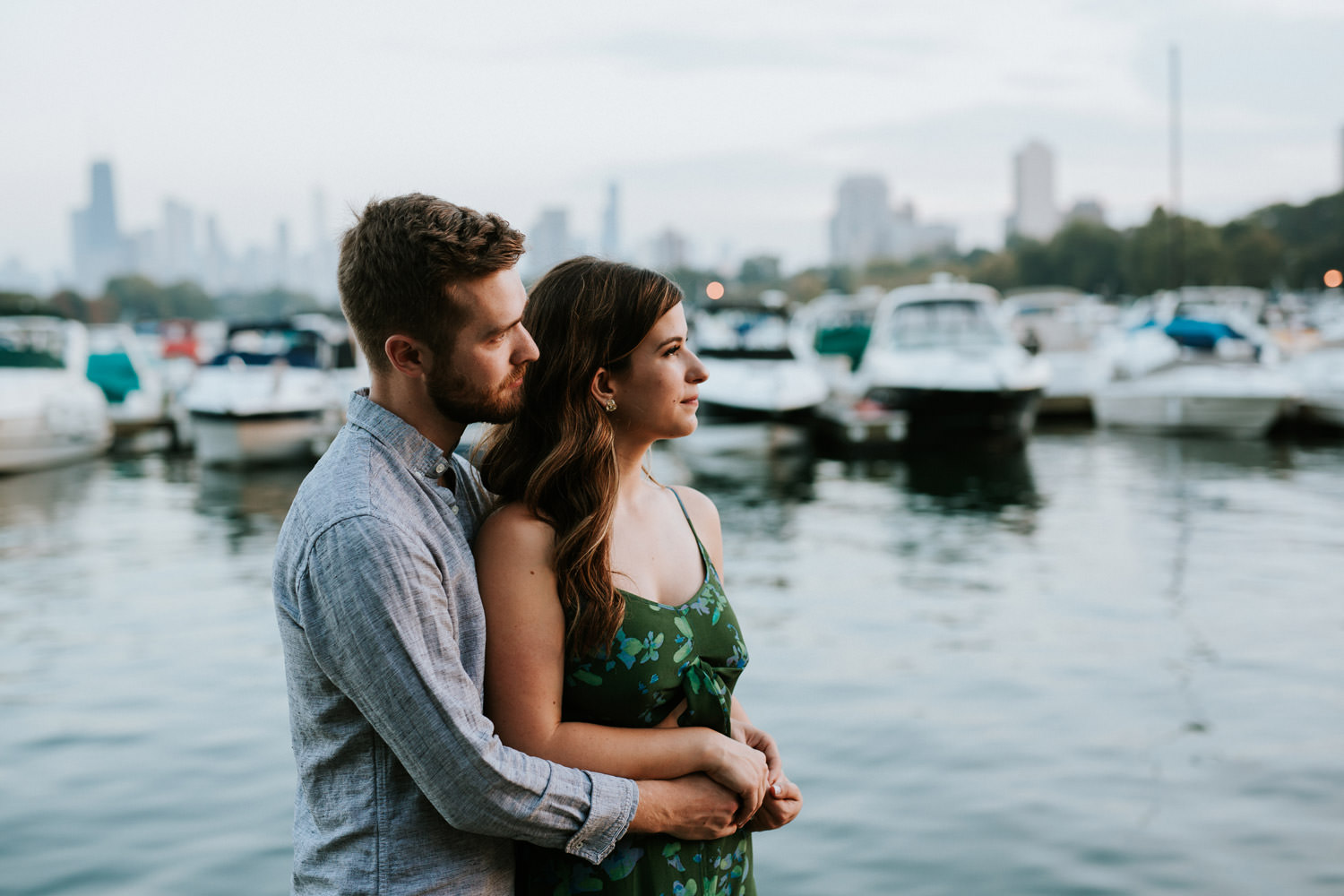 engagement portraits taken by lake michigan