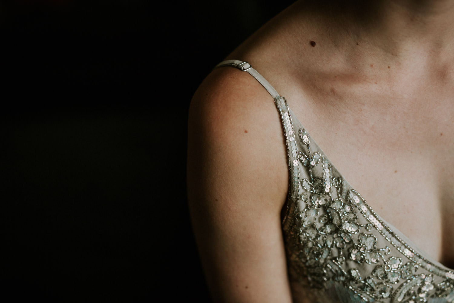 BHLDN detail of the dress photographed during the wedding in Chicago