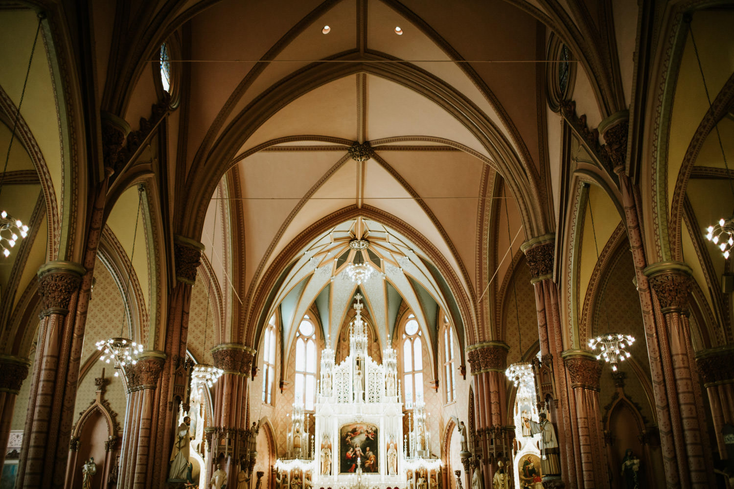 Saint Ignatius Church in Chicago during the wedding day