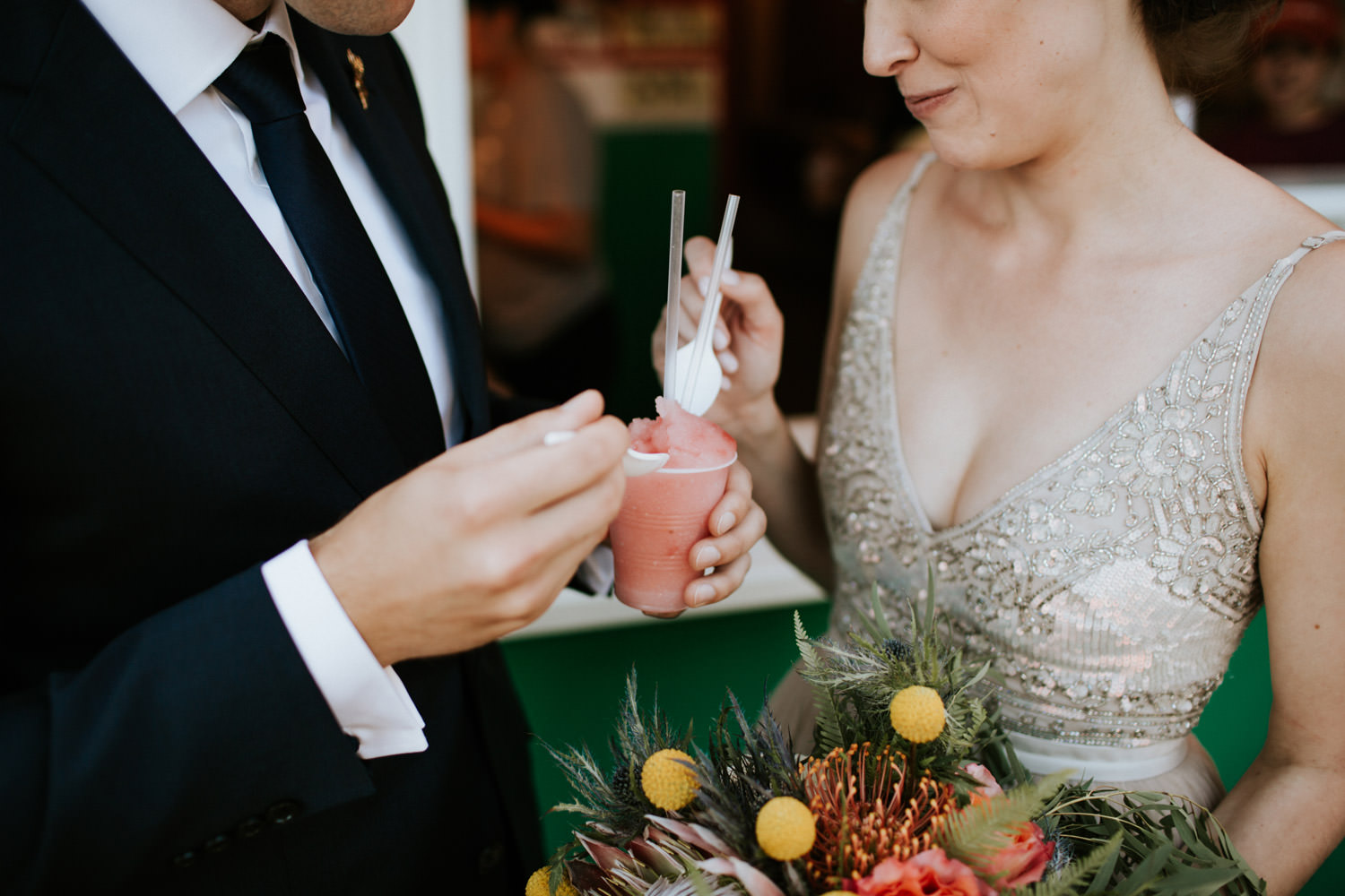 Bride and groom enjoyed Italian Ice at Marios Italian Lemonade stand. Picture take by Mark Trela