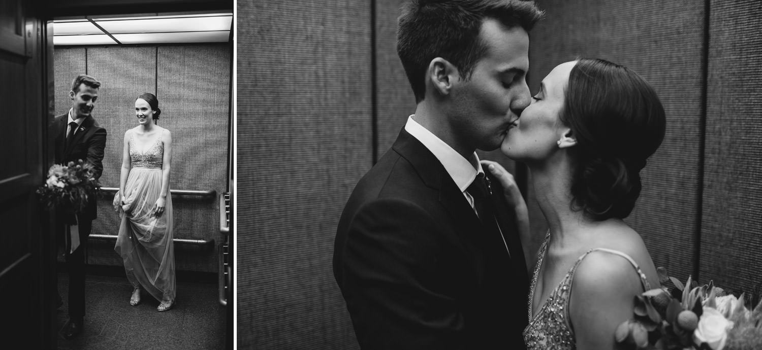 Bride and groom kiss in the elevator during their wedding day in Chicago