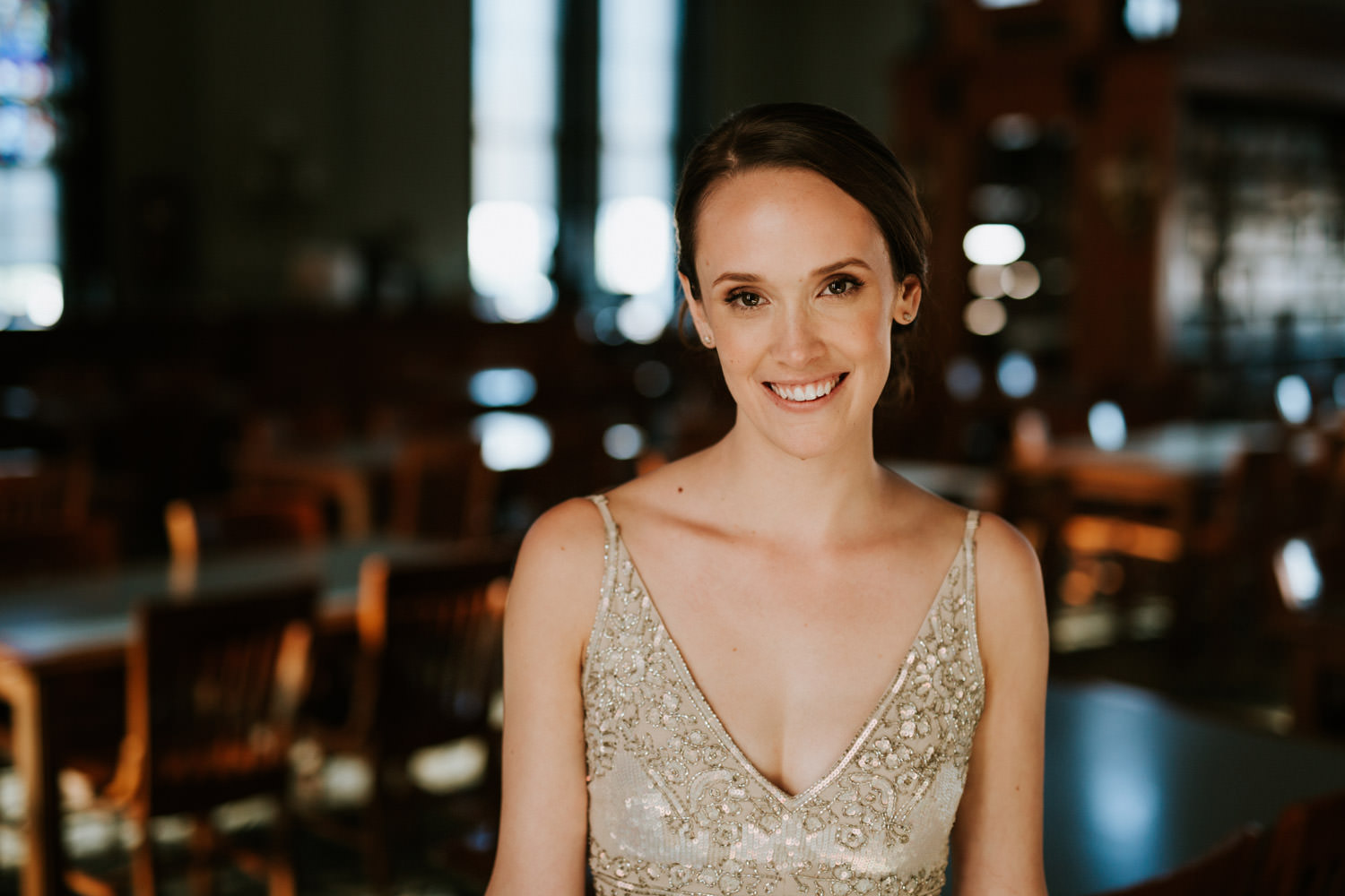 Natural portrait of the bride wearing BHLDN dress