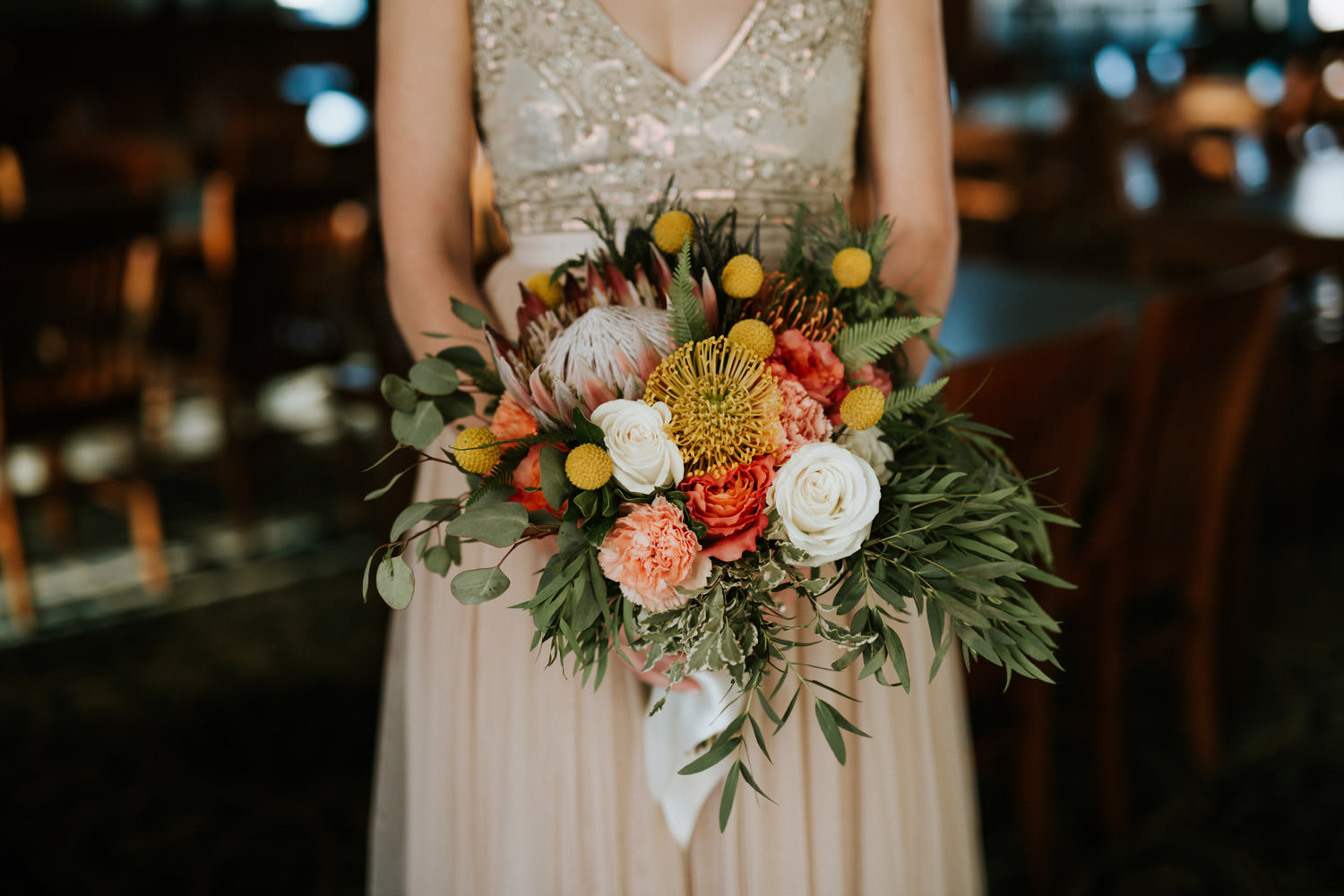 Fall color themed bride bouquet
