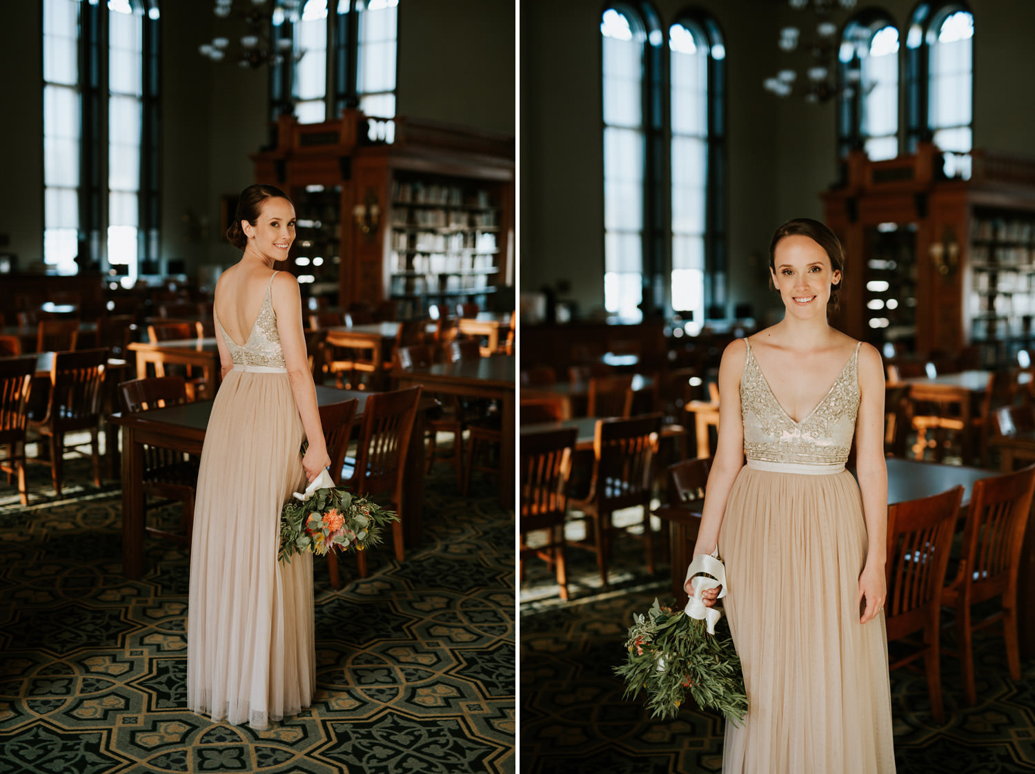 Picture of the Bride wearing BHDLN Benson Gown during the wedding in Chicago
