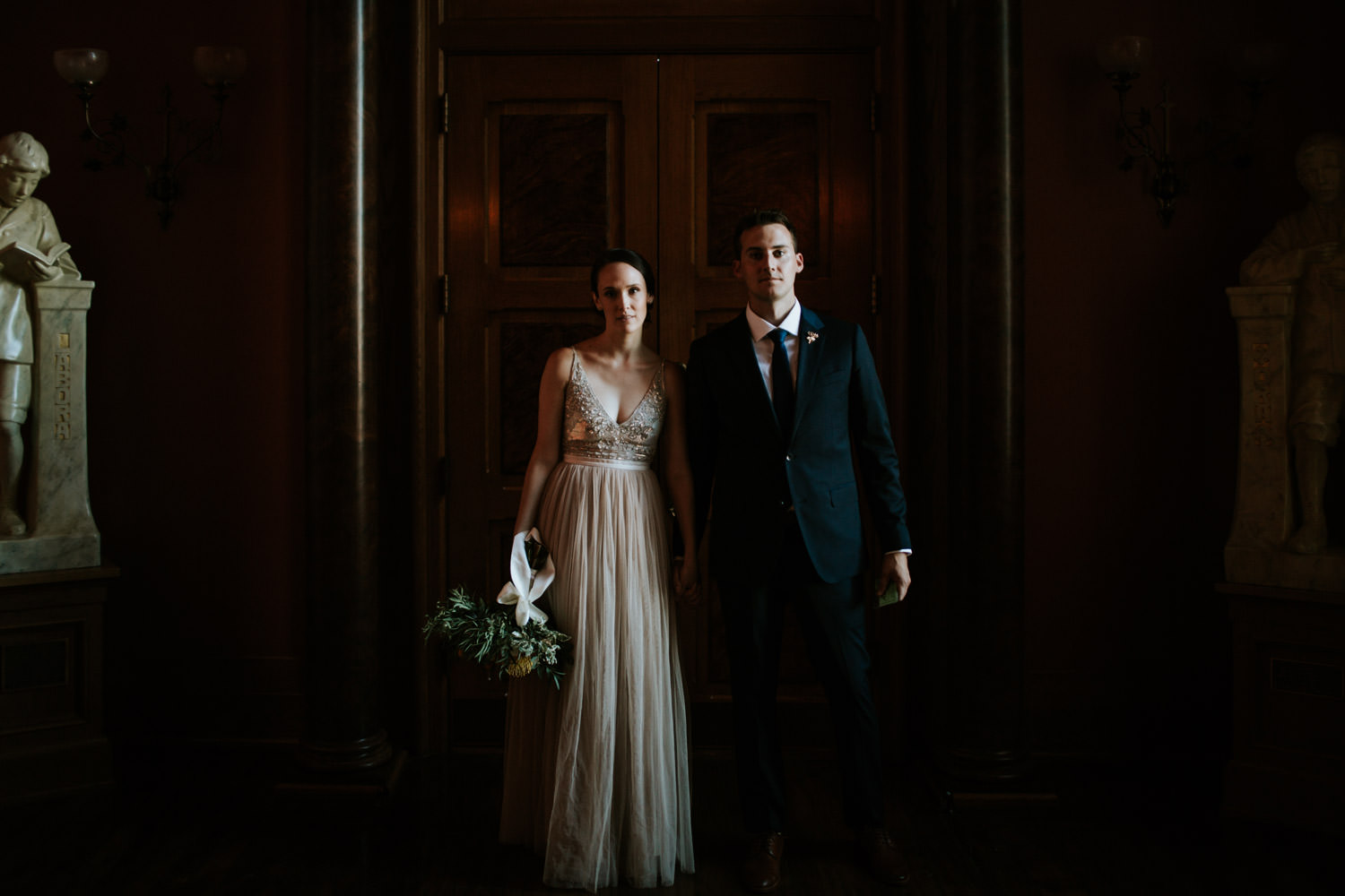 Fine art portrait of the bride and groom. Photograph taken by Mark Trela Photography
