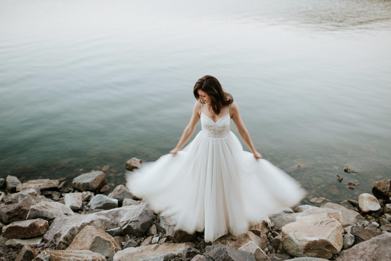 bride in her BHDLN dress at the outdoor wedding in Wisconsin
