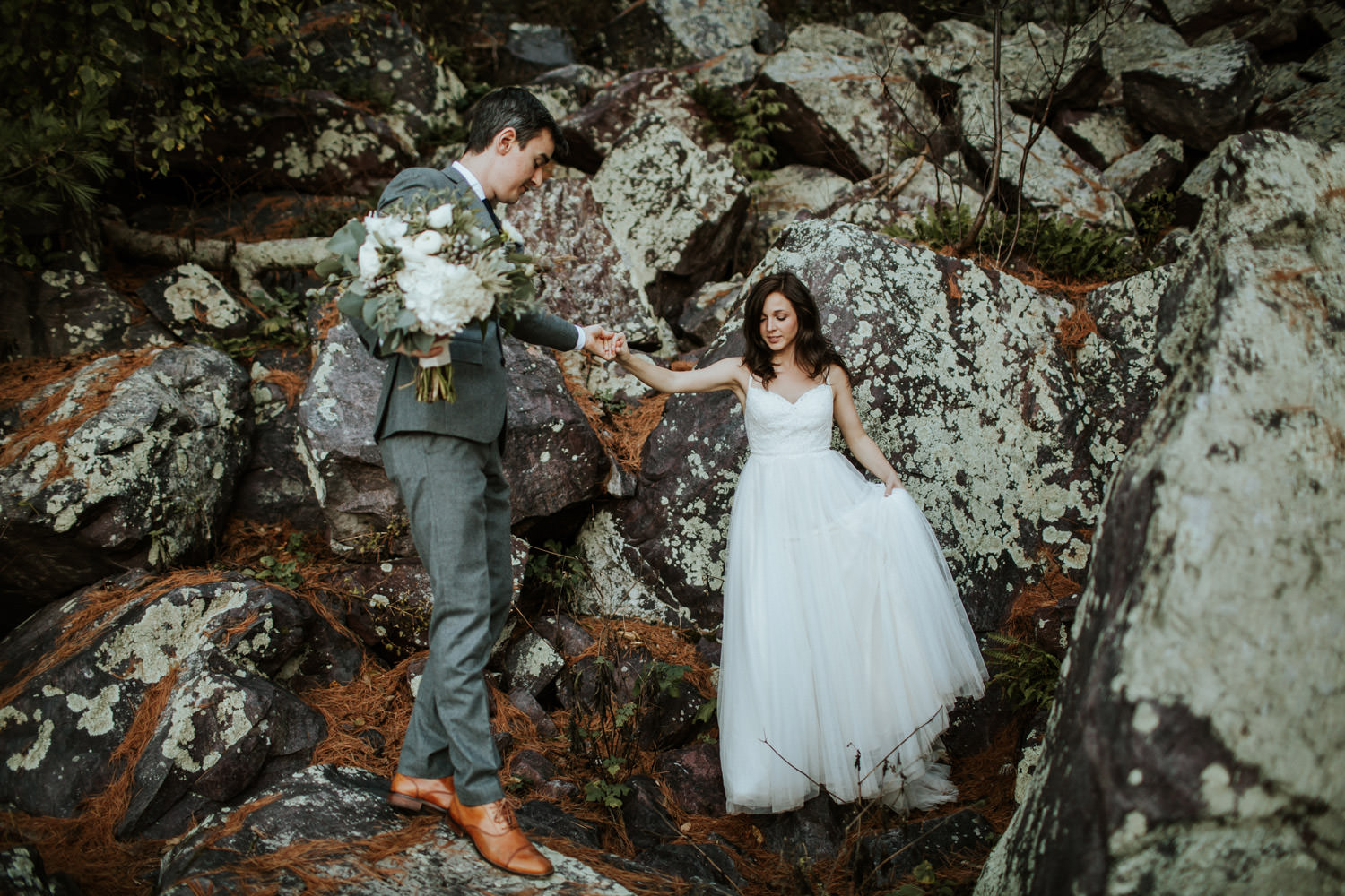 couple eloping at devil's lake state park in wisconsin