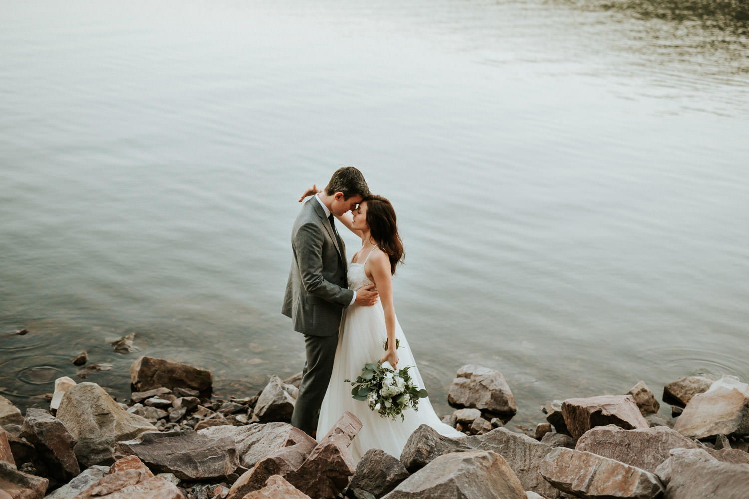 intimate wedding at the devil's lake state park in Wisconsin