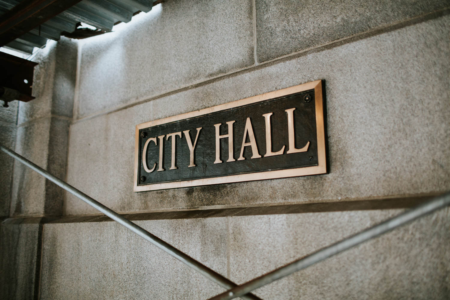 Chicago city hall sign. Photographed before the wedding day