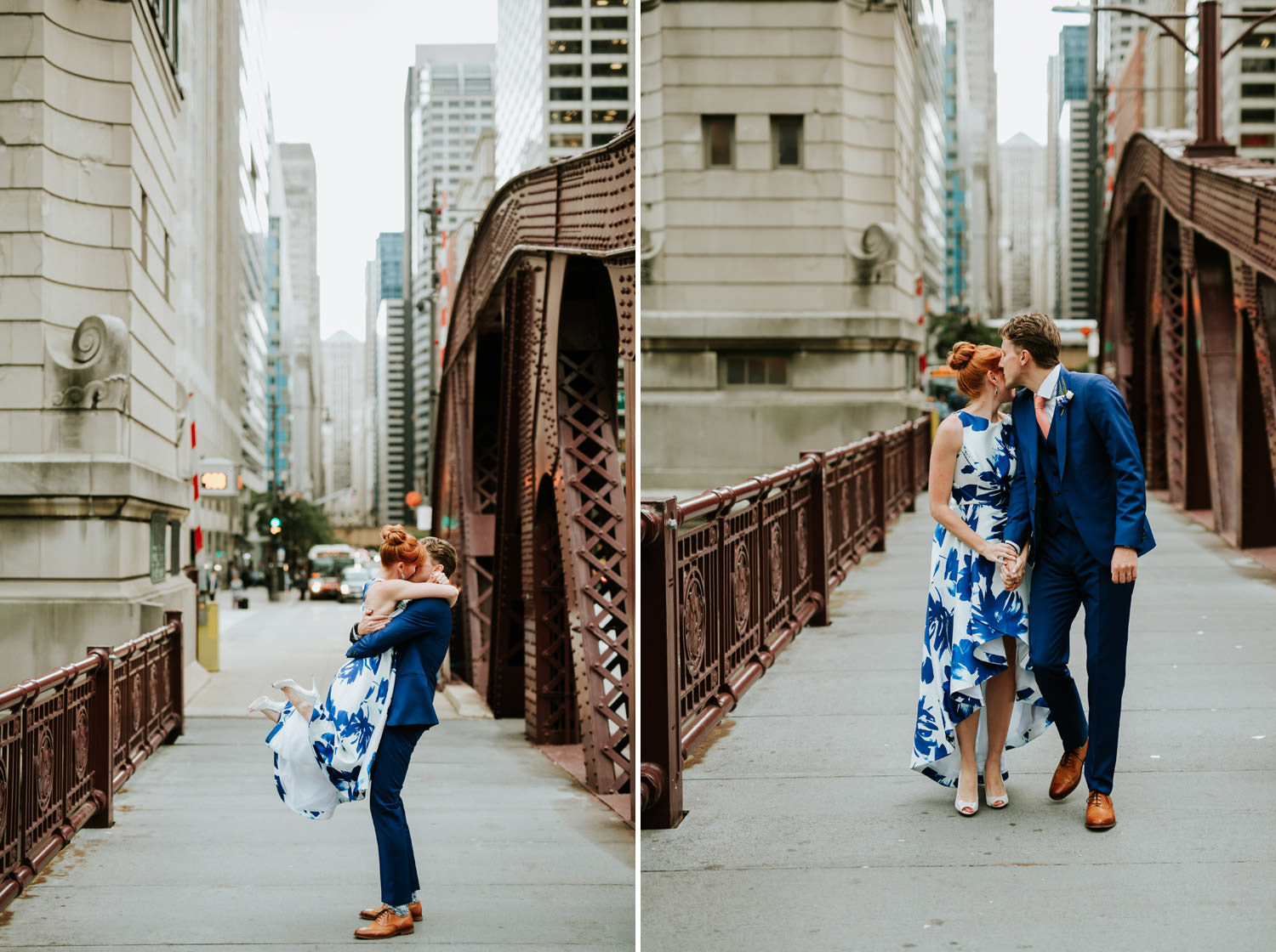 bride throws her flower into Chicago river during her elopement day