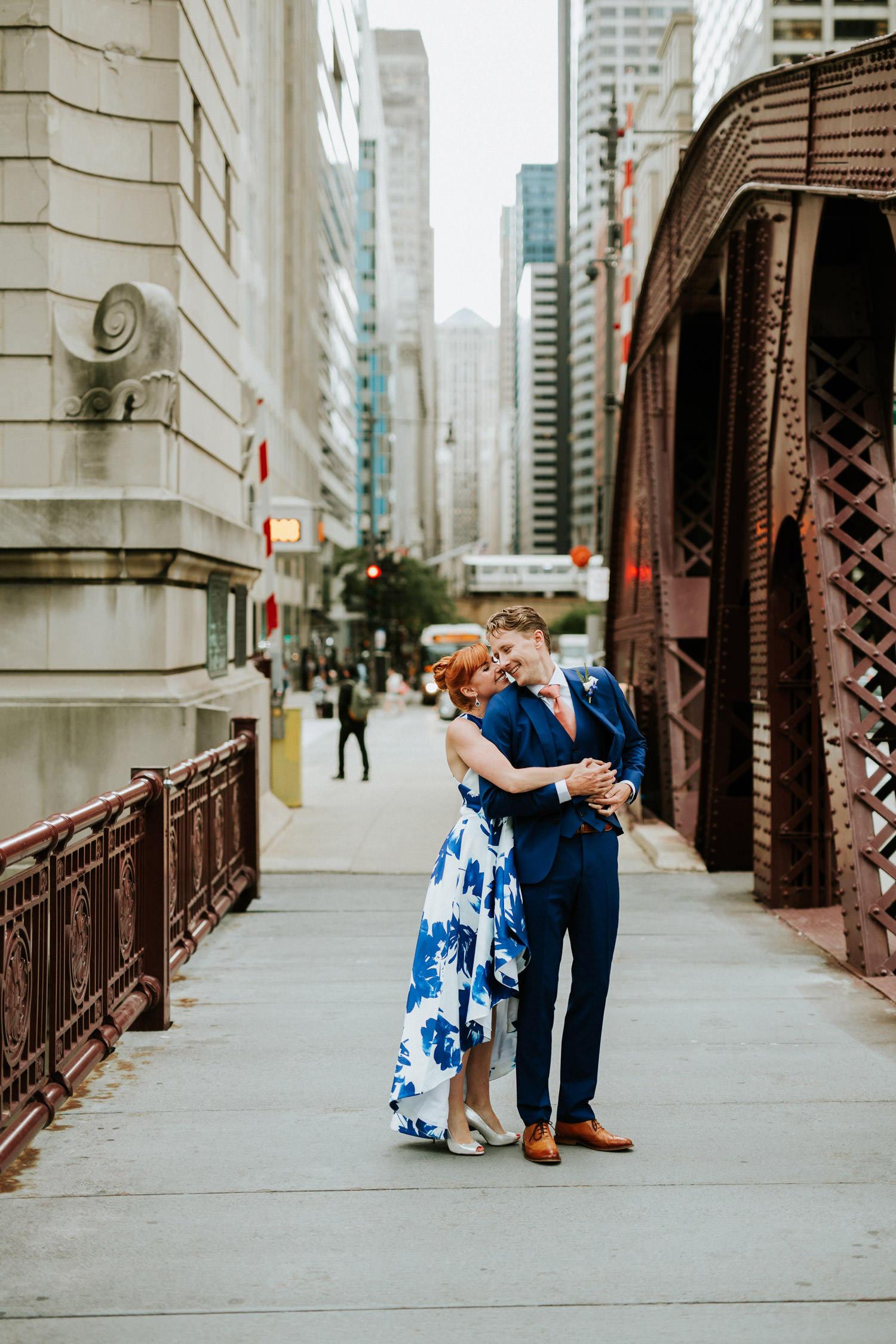 bride hugs her groom on their elopement day in Chicago
