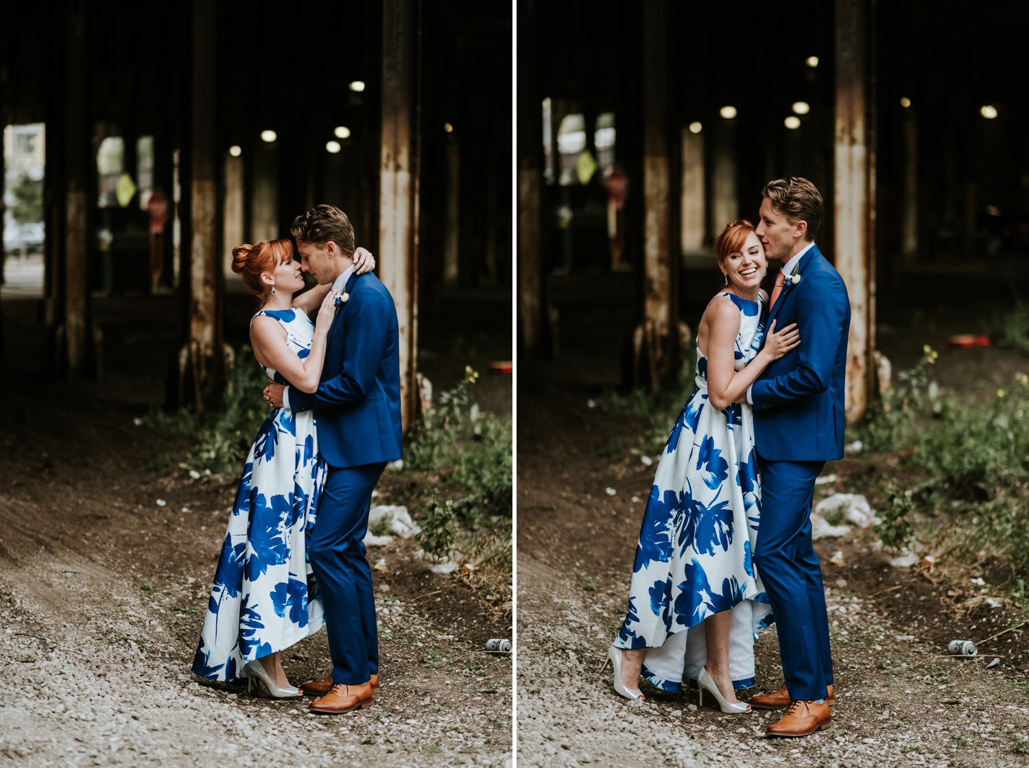 Modern Portrait of the bride and groom taken on their elopement. Photograph taken under the train bridge in Chicago