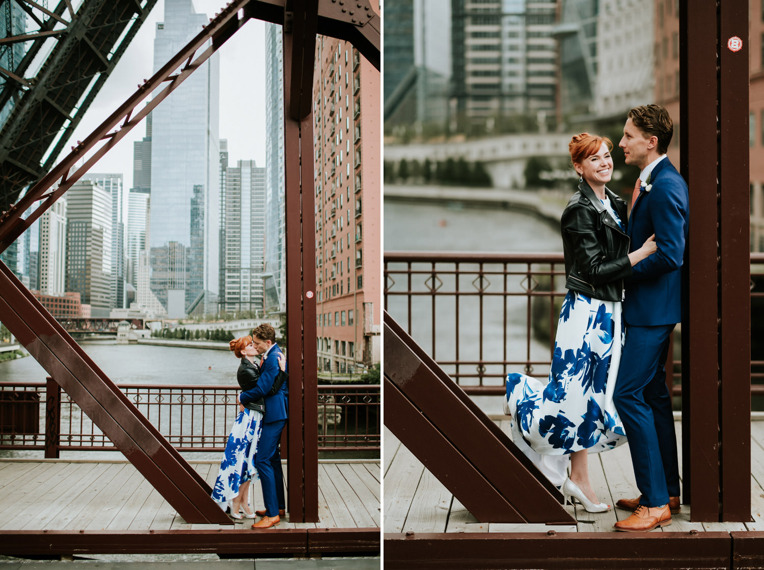 creative portrait of the bride and groom taken in down town Chicago during their elopement