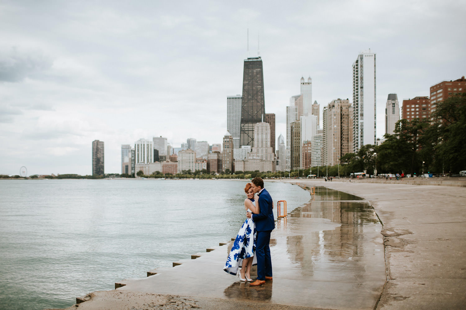 Chicago elopement photo taken at the lake michigan on North Ave. Beach.